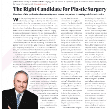 The Right Candidate For Plastic Surgery